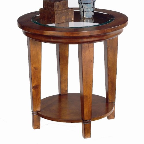 Bassett Easton Round Lamp Table with Beveled Glass Insert Top