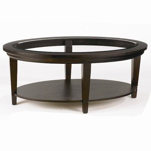 Bassett Easton Oval Cocktail Table with Beveled Glass Insert Top and Shelf