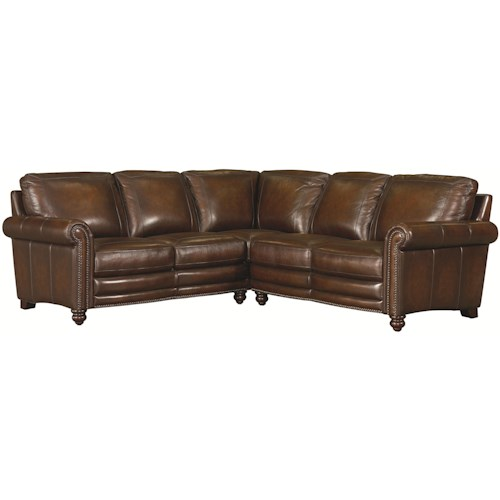 Bassett Hamilton Traditional L-Shaped Leather Sectional with Nail Head Trim