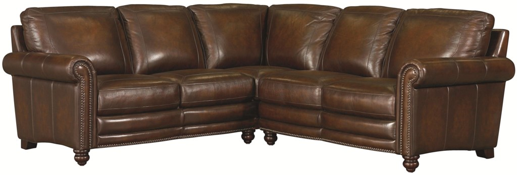 Bassett hamilton traditional l shaped leather sectional with nail head trim