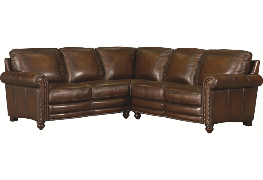 Hamilton Traditional L-Shaped Leather Sectional with Nail Head Trim by  Bassett at DuBois Furniture
