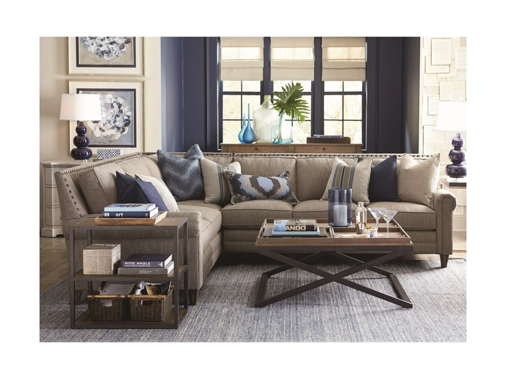 Bassett Harlan Sectional Sofa with 5 Seats | Dunk & Bright Furniture ...