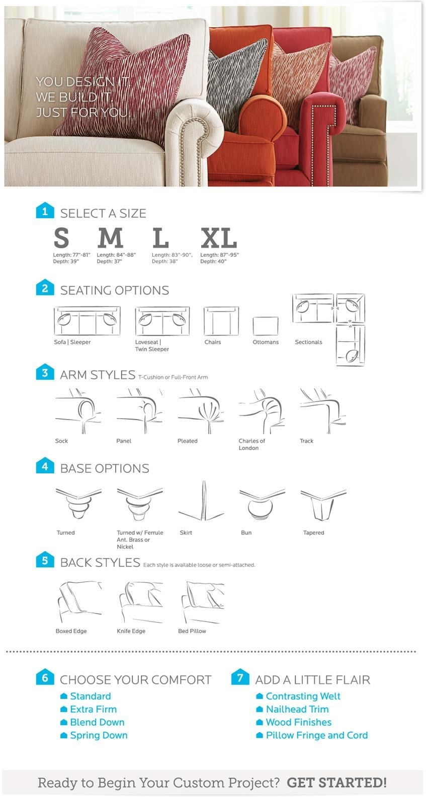 Bassett HGTV Home Design Studio 4000 CSECTS Customizable C Shaped Single  Chaise Sectional
