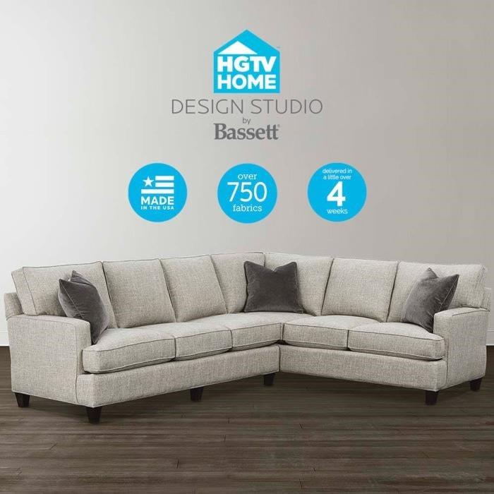 Bassett HGTV Home Design Studio 4000-SECTT2 Customizable L-Shaped ...