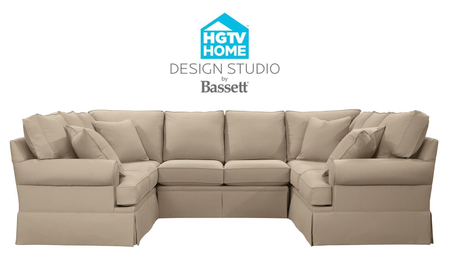 Bassett HGTV Home Design Studio Customizable U Shaped Sectional   Great  American Home Store   Sectional Modular Piece