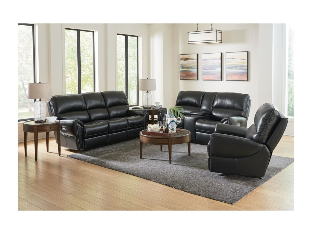 Bassett ManchesterMotion Loveseat with Power and Console