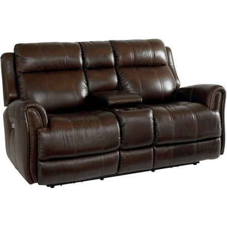 Leather Power Reclining Console