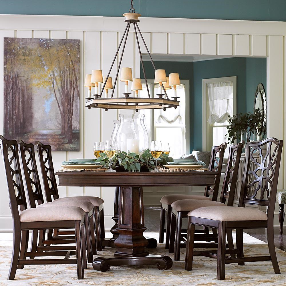 7 piece double pedestal table and side chair set - moultrie park