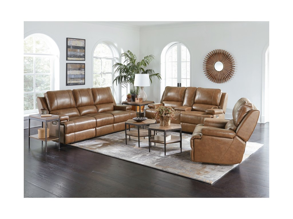 Bassett Parker Club Level Triple Reclining Sofa with Power Headrests