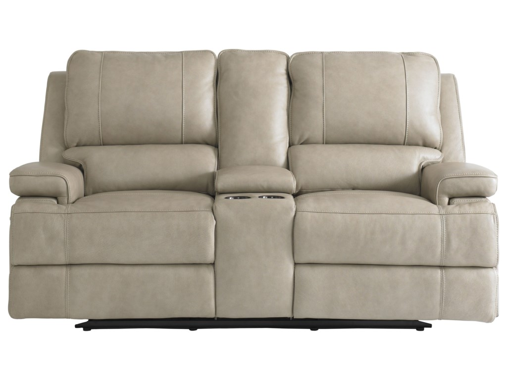 Bassett Parker Club Level Double Reclining Loveseat w/ Power Headrests