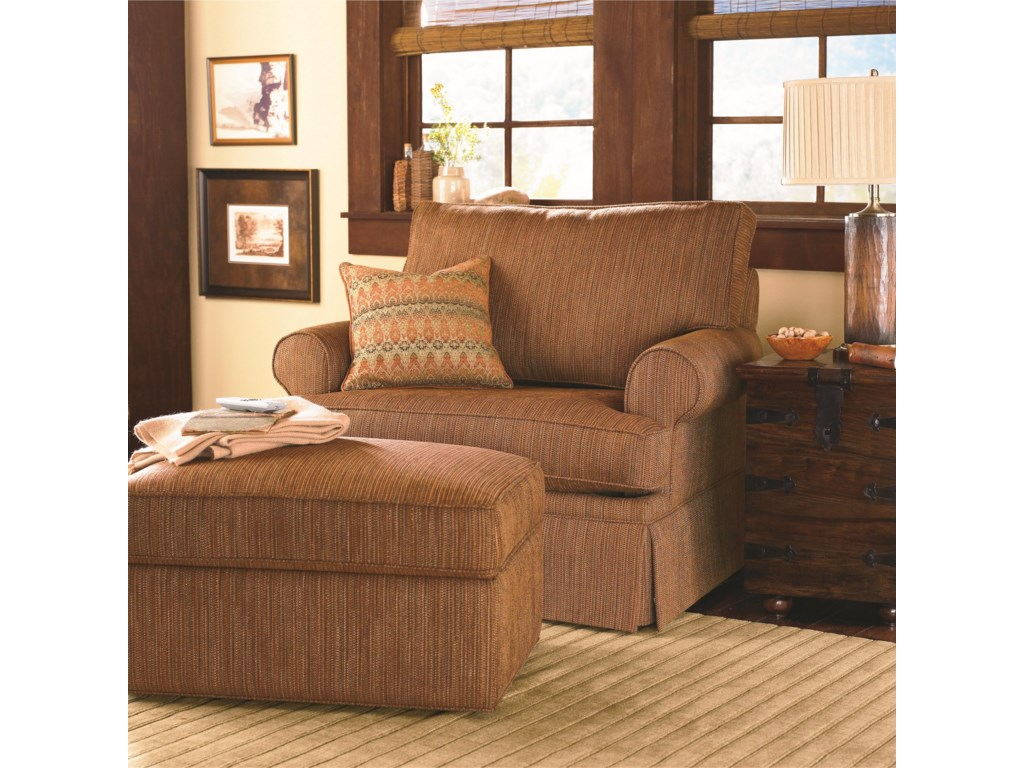 Bassett Custom Upholstery - Medium Scale<b>Custom</b> Chair and a Half and Ottoman