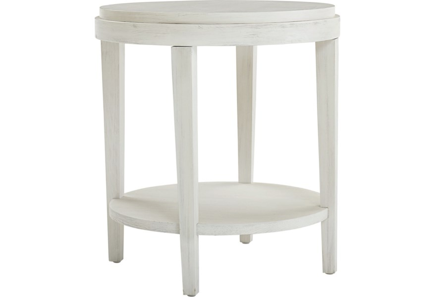 Bassett Ventura Transitional Round End Table With Shelf Bassett Of Cool Springs End Tables