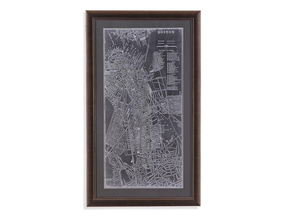 Bassett Mirror Belgian LuxeGraphic Map of Boston