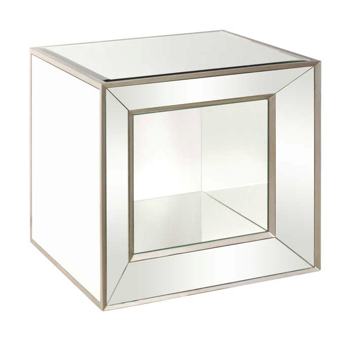 Bassett Mirror Hollywood Glam A Minetta Mirrored Cube Hudsons - Mirrored cube end table