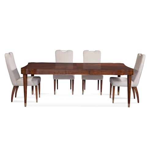 Bassett Mirror Thoroughly Modern Darrien Casual Dining Set J J Furniture Dining 5 Piece