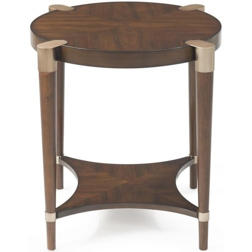 Bassett Mirror Thoroughly Modern Cole Round End Table with Gold Accents
