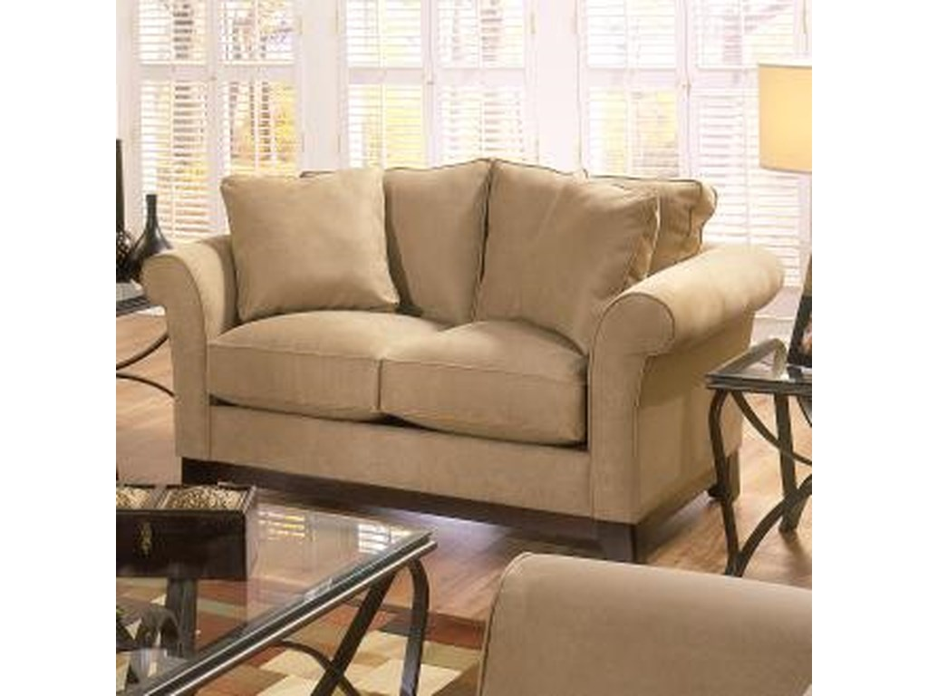 3sa3a transitional stationary loveseat with rolled arms and wood feet by bauhaus