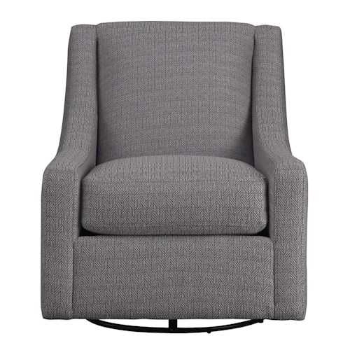 Metro Collection Accents Contemporary Swivel Chair with Track Arms