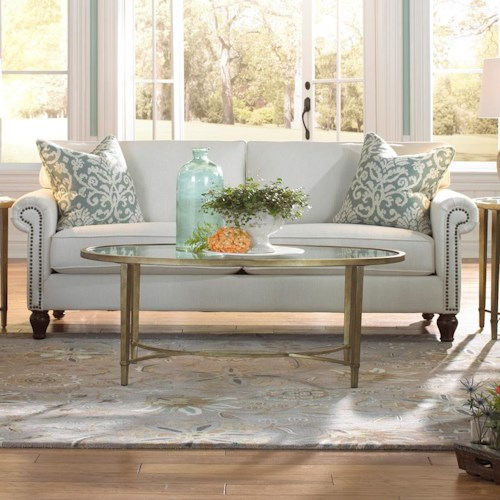 Metro Collection Vienna Traditional Sofa with Rolled Arms and Nail Head Trim