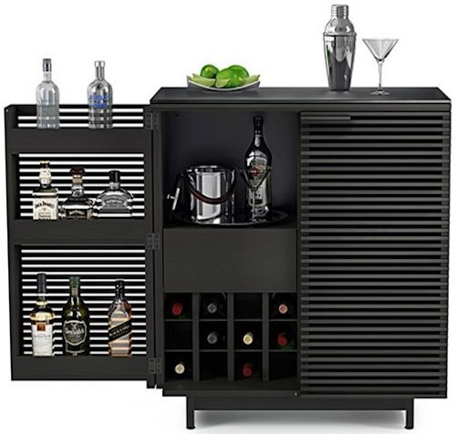 BDI Corridor Bar with Louvered Doors and Hanging Wine Glass Storage