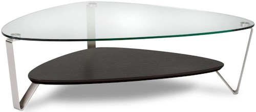 BDI Dino Large Triangular Cocktail Table with Glass Top