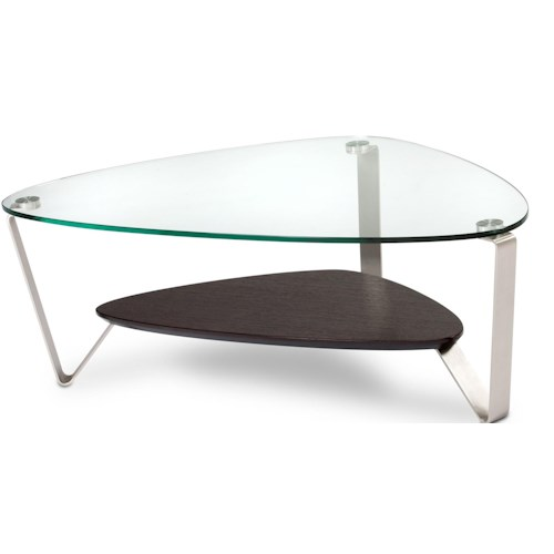 BDI Dino Small Triangular Cocktail Table with Glass Top