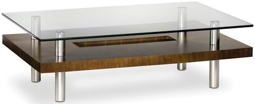 BDI Hokkaido Wood and Glass Coffee Table with Metal Legs