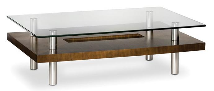Wonderful BDI Hokkaido Wood And Glass Coffee Table With Metal Legs