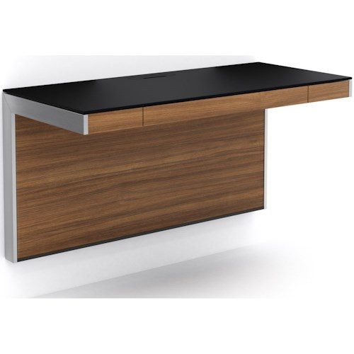 BDI Sequel Floating Wall Desk with Black Glass Surface