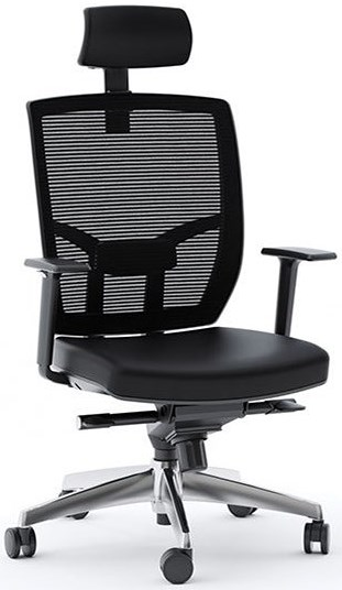 BDI Task Chairs Leather Task Chair with Polished Base