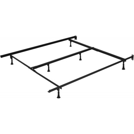Full, Queen Bed Frame with 4 Casters, 2 legs