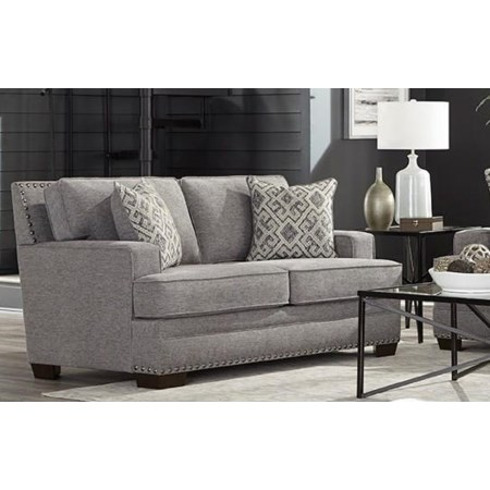 Transitional Grey Loveseat