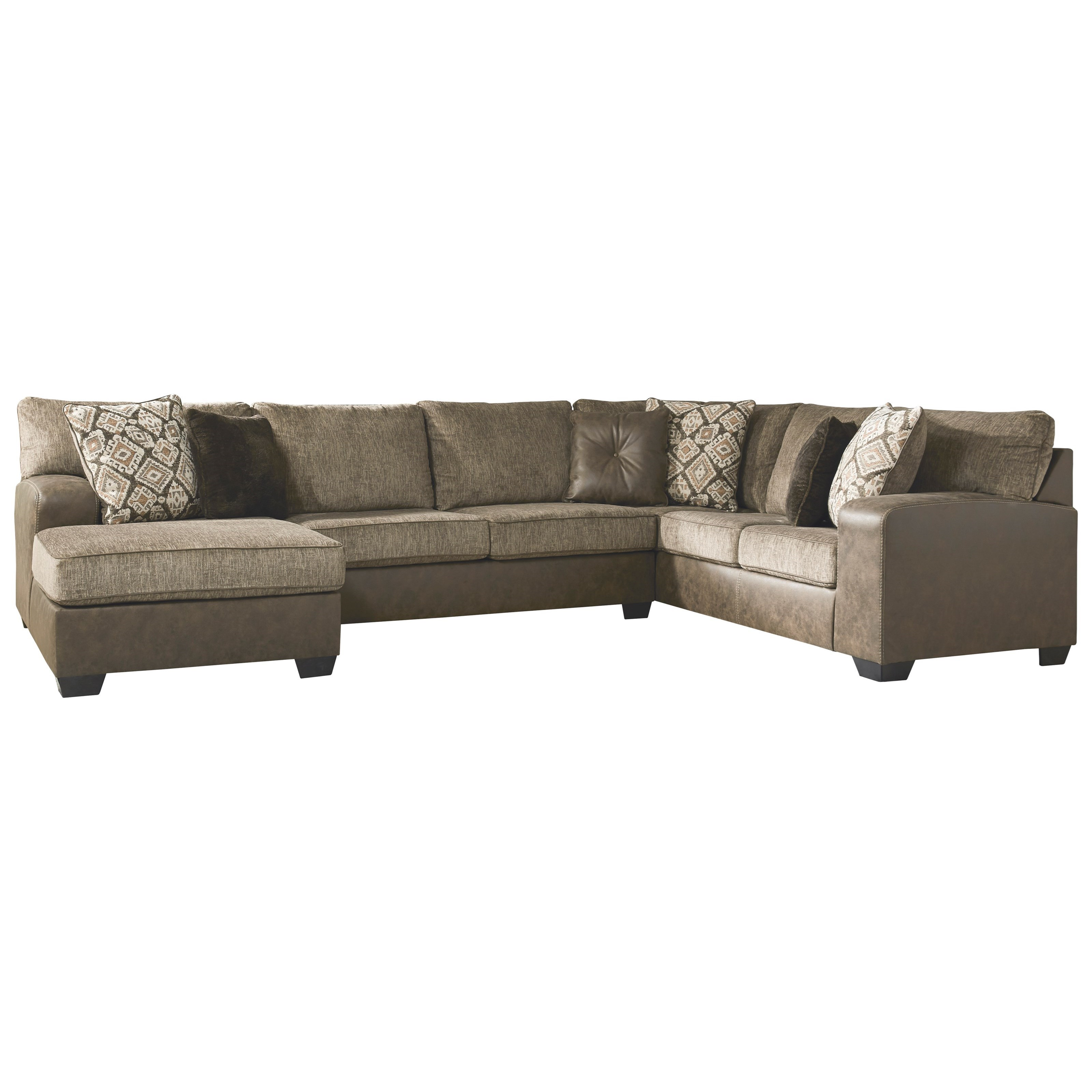 Brown Faux Leather/Fabric 3-Piece Sectional with Chaise