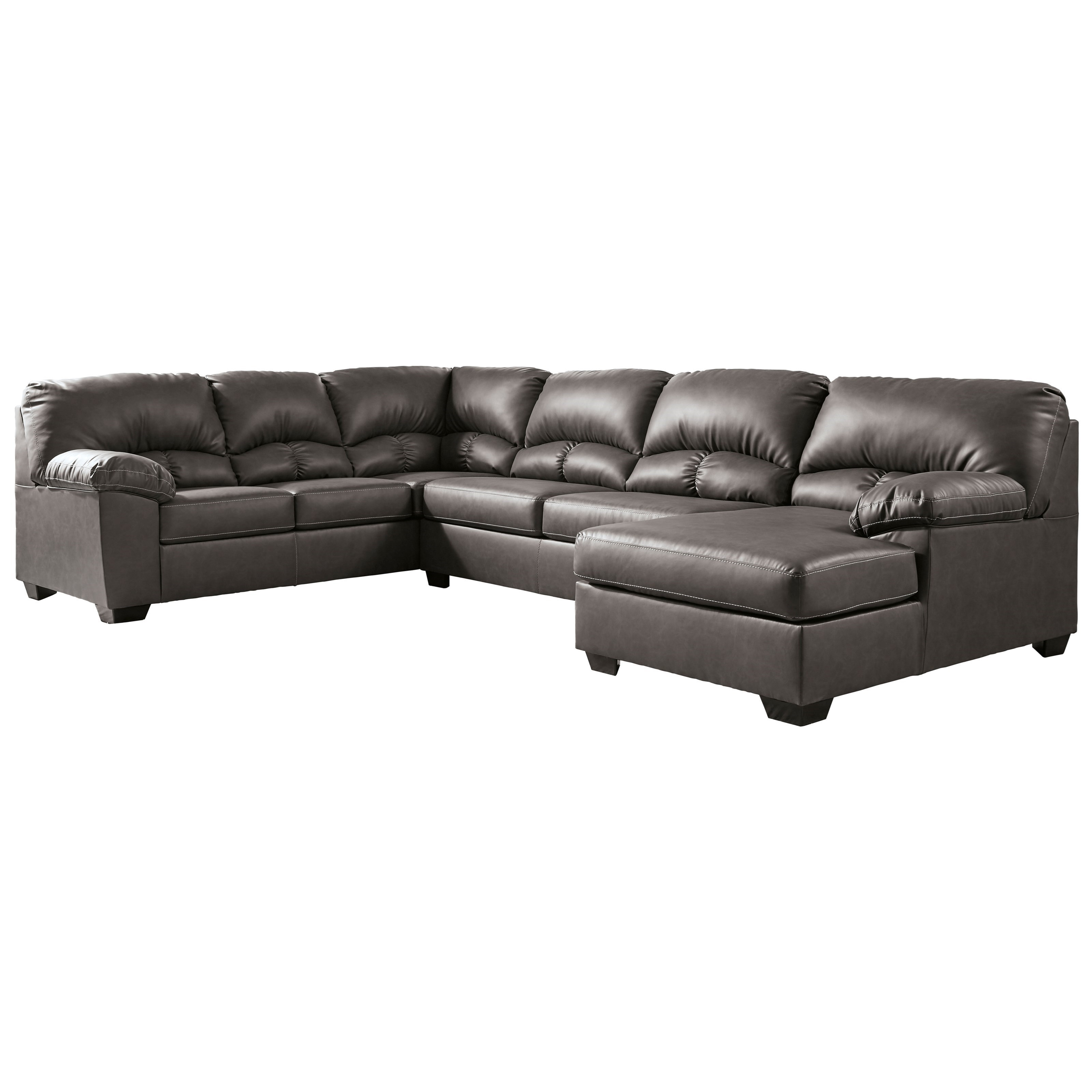 Faux Leather 3-Piece Sectional with Chaise