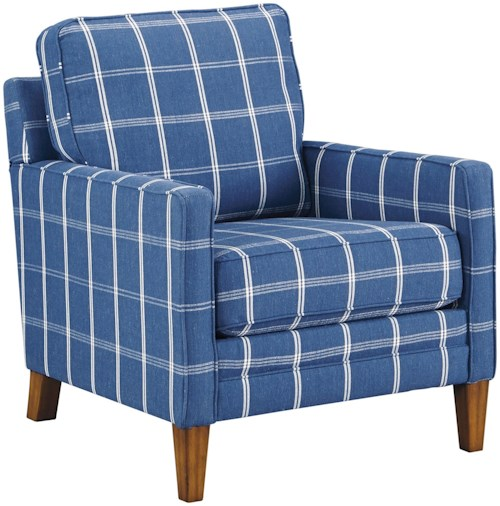 Benchcraft by Ashley Adderbury Blue Plaid Accent Chair with Track Arms