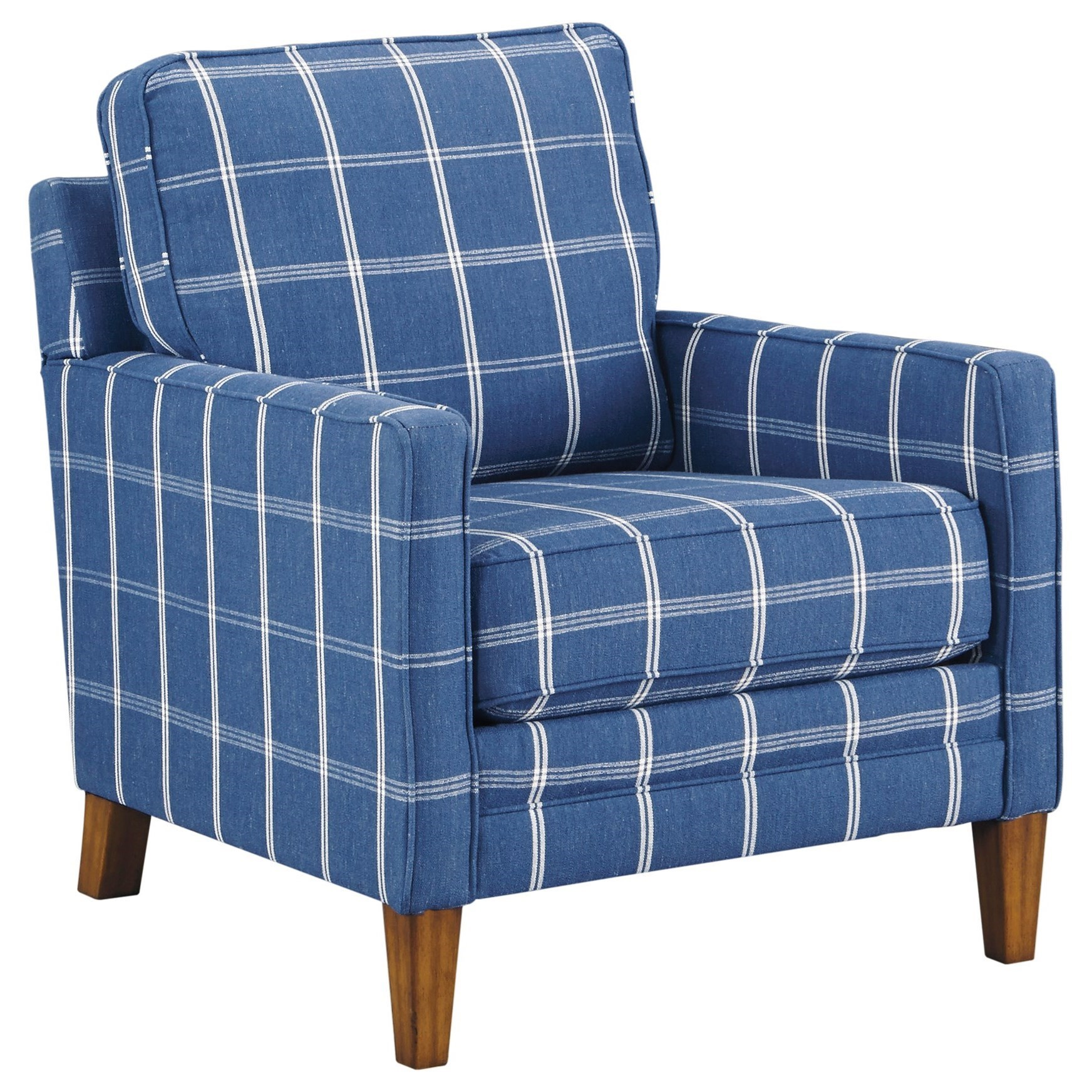 Benchcraft Adderbury Blue Plaid Accent Chair With Track Arms