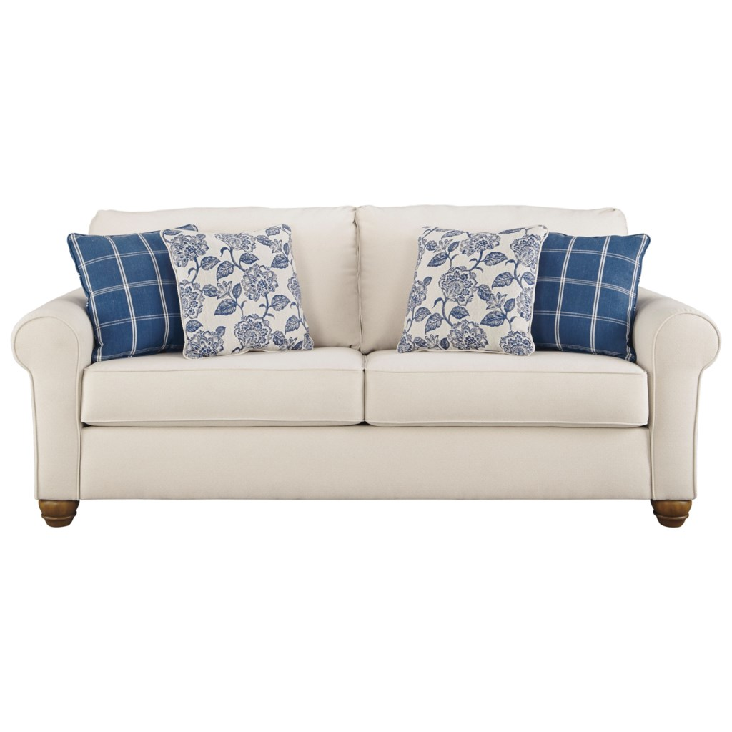 Benchcraft Adderbury Queen Sofa Sleeper With Rolled Arms & Memory Foam  Mattress - Household Furniture - Sleeper Sofas