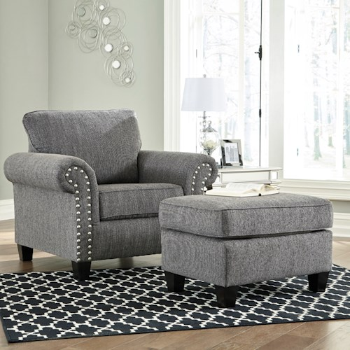 Benchcraft Agleno Contemporary Chair and Ottoman with Nail Head Trim