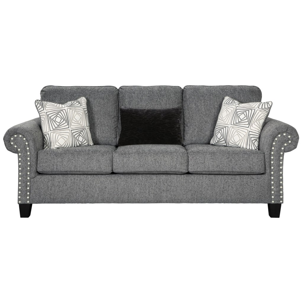 Benchcraft Agleno Contemporary Sofa With Nailhead Trim Reid S
