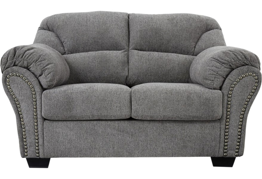 Benchcraft Allmaxx Loveseat With Pillow Arms And Nailhead Trim Rooms And Rest Loveseats