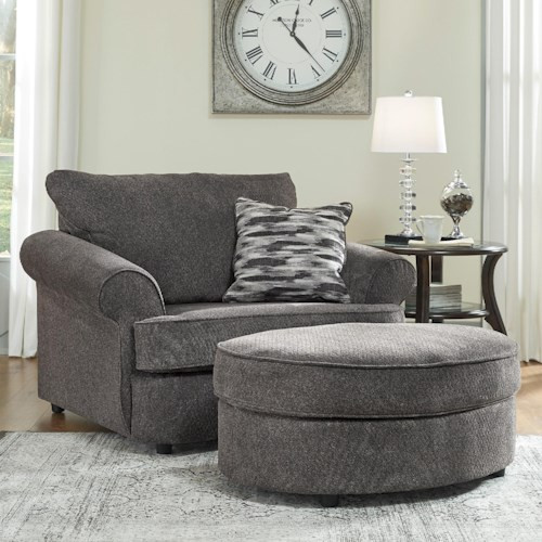 Benchcraft by Ashley Allouette Chair and a Half & Oval Ottoman in Gray Fabric