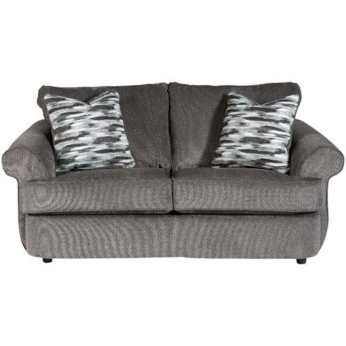 Benchcraft Allouette Curved Front Loveseat in Gray Fabric