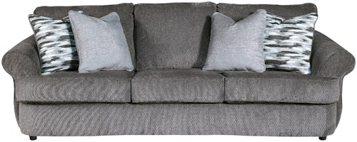 Benchcraft Allouette Curved Front Sofa in Gray Fabric