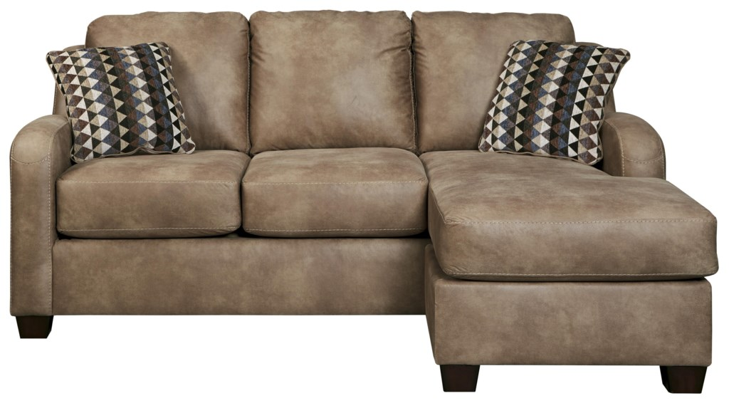 Benchcraft Alturo Contemporary Faux Leather Sofa Chaise Dunk