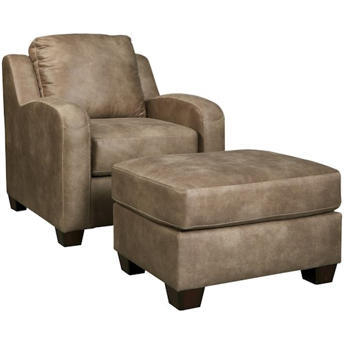 Benchcraft Alturo Contemporary Faux Leather Chair & Ottoman