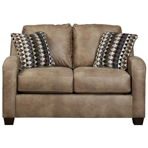 Benchcraft Alturo Contemporary Faux Leather Loveseat