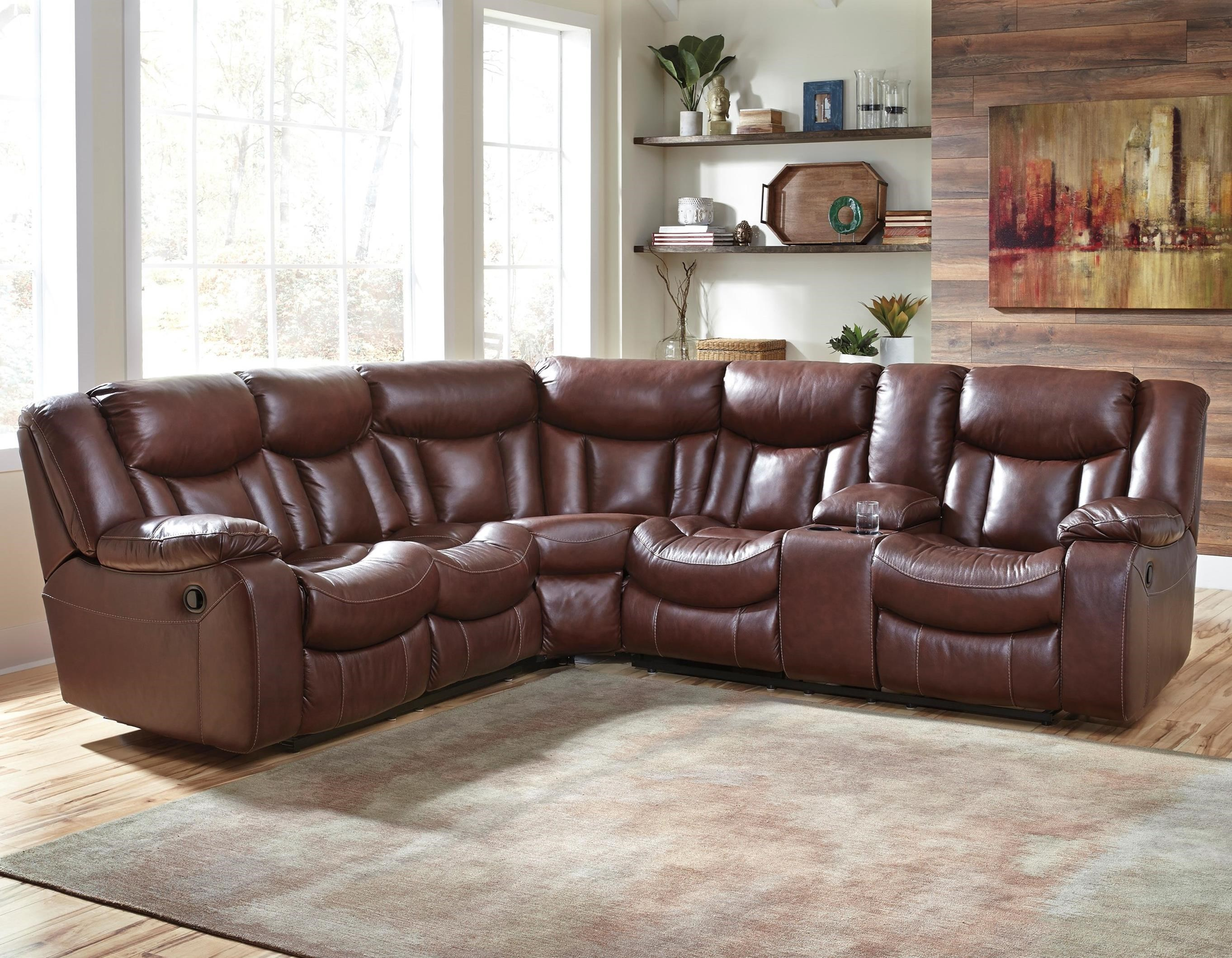 Benchcraft Amaroo Brown Leather Match 2 Piece Reclining Sectional