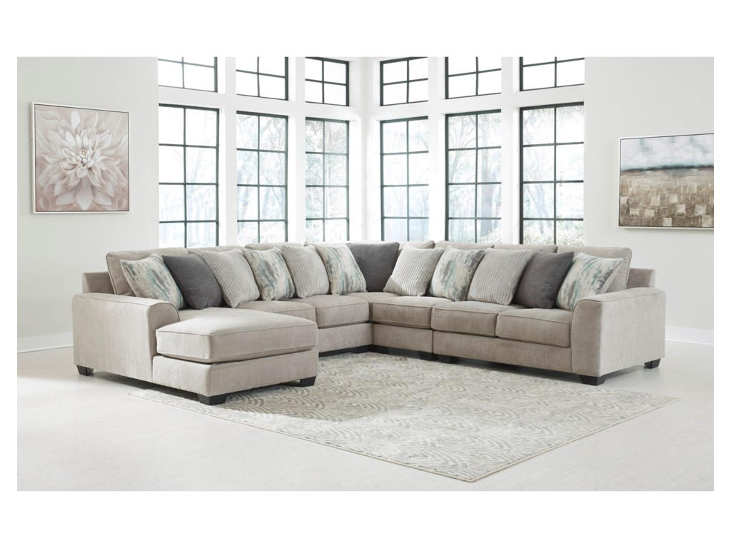 Signature Design By Ashley Ardsley5-Piece Sectional with Left Chaise