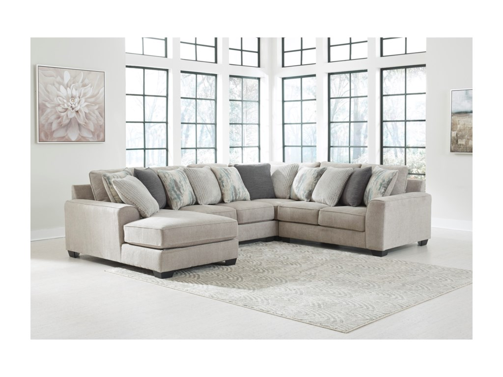 Signature Design By Ashley Ardsley4-Piece Sectional with Left Chaise