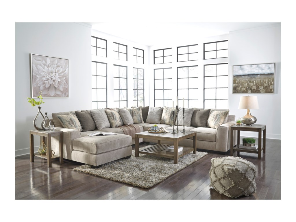 Benchcraft Ardsley4-Piece Sectional with Left Chaise